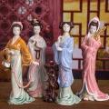 中式古典家居裝飾仕女擺件石灣公仔精品手工陶瓷