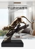 廠家定制批發辦公室客廳樣板房擺件冷鑄銅藝術品下山豹