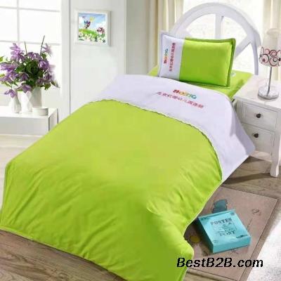 供應山東幼兒園小床被褥廠家 兒童床上六件套被褥