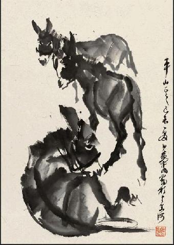 儿童水墨画驴步骤