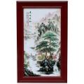 仿古實木框鑲嵌瓷板畫工藝品擺件 直銷古典居家裝飾畫