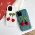 適用蘋果xr max可愛櫻桃羊羔絨新款手機殼