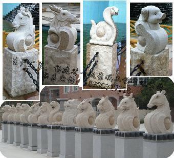 石雕十二生肖 专业生产动物石雕