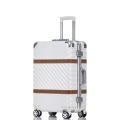 廠家直銷復古皮條款鋁框拉桿箱萬向輪行李箱男女旅行箱