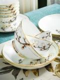 創意婚慶家居禮品骨瓷碗盤碟餐具 新款陶瓷餐具碗勺套