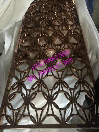 玫瑰金激光雕花镂空隔断花格厂家