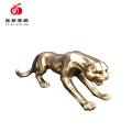 廠家定制批發辦公室客廳創意裝飾品冷鑄銅爬行豹擺件