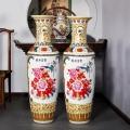 陶瓷器仿古手繪山水畫落地大花瓶新中式客廳裝飾品大擺
