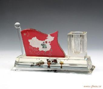 建党93周年纪念品,水晶党旗办公摆件礼品
