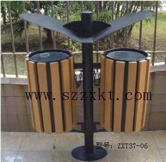 公共环保垃圾桶的造型包括形态,色彩,材质等,与整体环境相互协调时