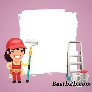 房子粉刷卡通圖