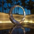 濟南地產售樓處燈光圓環雕塑 不銹鋼水景組合擺件定制