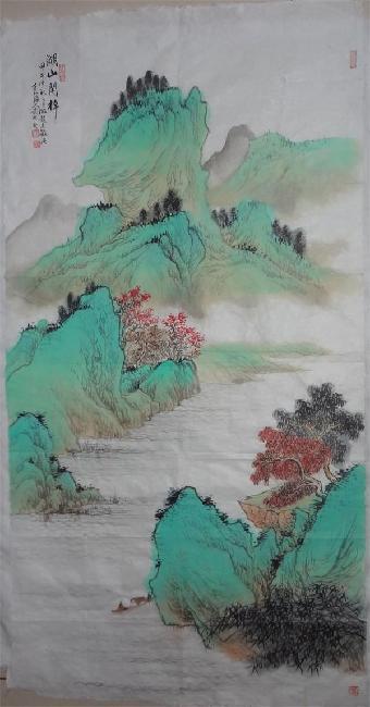 武际新青绿山水湖山闲棹图图片