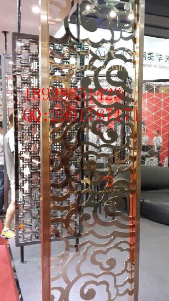 重庆欧式酒店拉丝香槟金不锈钢屏风厂家新款直销