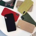 純色麻布iphone7plus手機殼ins冷淡風潮