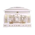 陶瓷骨灰壇雙蓋青花瓷器骨灰盒殯葬用品可插照片圓形壇