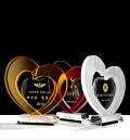 琥珀色心形水晶獎牌 慈善活動水晶紀念品 逆行者獎杯