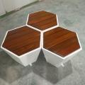 玻璃鋼實木面凳子玻璃鋼六邊形椅子可定制廠家生產直銷