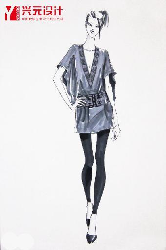 手绘时装画效果图    服装时装画人体比例,动态,五官的