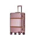 工廠直銷皮條款鋁框拉桿箱萬向輪行李箱男女密碼箱
