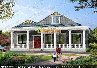 农村别墅13.8 15.4米 三层现代欧式农村别墅,挑空客厅 大露台
