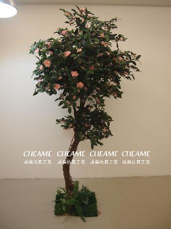 仿真茶花树 室内装饰美化人造茶花树假茶花树盆景