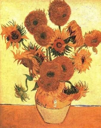 梵高的作品《鸢尾花》《向日葵》《星空》等
