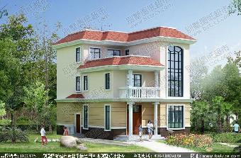 10.7米×12.6米三层简单实用农村别墅全套设计图片