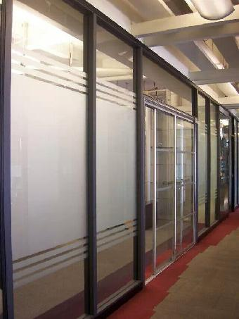 办公室玻璃门贴磨砂防撞条刻字