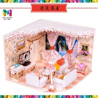 浪漫满屋 木质娃娃屋        产品特点      1》diy场景手工制作,灵感
