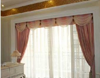 上海市专业加工各种水波帘帘头帘幔订做窗帘