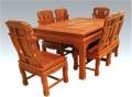 大紅酸枝餐臺家具板面木紋清晰