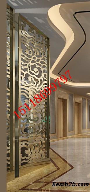 东莞酒店背景墙无缝焊接不锈钢双面镜面钛金花格屏风