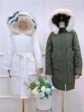 廣州尾貨市場長款帶動物毛領CK羽絨服品牌折扣女裝尾