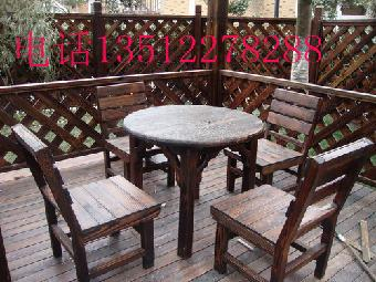 天津防腐木桌椅 酒吧餐厅实木桌椅 室外阳台休闲桌椅
