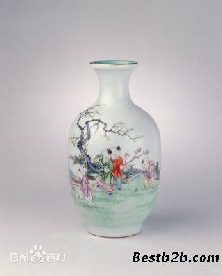 乾隆仙鹤牡丹瓶