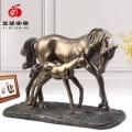 廠家供應新型冷鑄銅工藝品母子馬,創意家居中式擺件裝