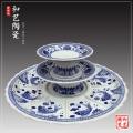 青花陶瓷海鮮大盤創意大盤酒樓超大盤子特大咖圓菜盤