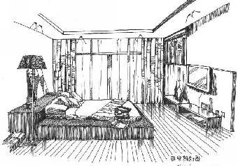 建筑内部透视手绘风格