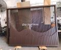 示范區戶外不銹鋼特色景墻屏風 表面棕色烤漆廠家