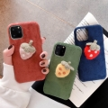適用ip11時尚創意草莓絨布蘋果MAX新款手機殼