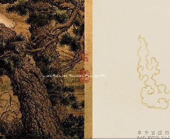 弯曲盘旋的松树枝叶掩映,树皮斑驳,居中挺立的白鹰则极为突出,羽毛的