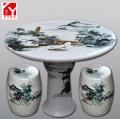景德鎮陶瓷 一桌四凳戶外桌凳手繪粉彩重工牡丹花鳥