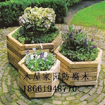 青岛木花箱 防腐木组合花箱景观