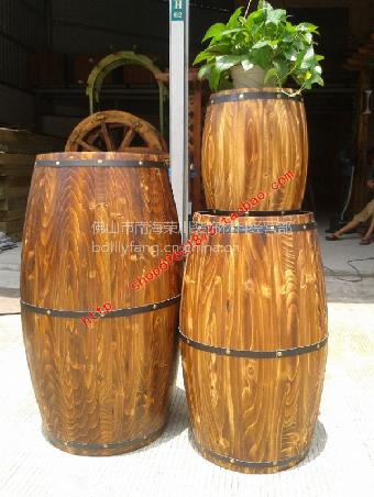 实木酒桶装饰桶红酒桶摆设件茶桶杂物