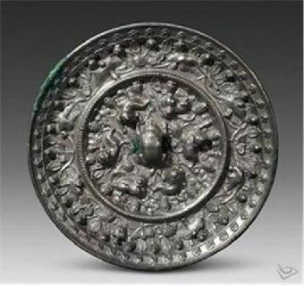 大唐fu'rong'yuan瑞兽花纹图案铜镜观台