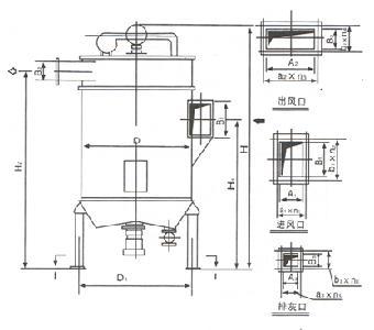 成的小型布袋除尘器,采用了脉冲喷吹的清灰方式,hmc的结构是由过滤室