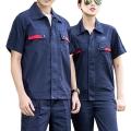 加油站电子厂夏季短袖防静电劳保服涤棉细斜纹工作服
