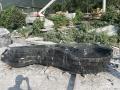 廣東英德中國黑異形加工定制野山石流水缽造景石材