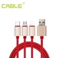 cable一拖三3A快充數據線 三合一USB充電線